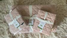 NWT Pottery Barn Belgian Flax Linen Diamond Quilt F/Q Soft Rose & 2 Shams Rt 500