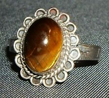 Vintage 925 Sterling TAXCO Mexico Tiger's Eye Scallop Ring-size 6