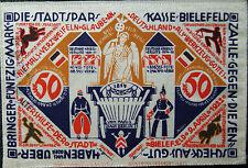 103.15- Stadt-Sparkasse Bielefeld-STOFFGELD-50 Mark- 4/9/1922 UNC. FINE SILK!