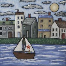 Sailing Day 12 x 12 x 3/4 ORIG CANVAS PAINTING Folk Art Prim Boat Karla Gerard