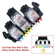 12V Universal Car Fuse Box 80A 5-Pin Relay Socket Base Holder Auto Engine Parts