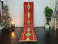"Moroccan Handmade Boujad Runner Rug 2'1""x10'4"" Red Geometric Berber Wool Carpet"