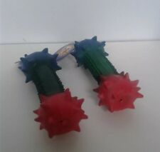 """Latex Dog Toys Small Rainbow Spiny Dumbbell 4"""" Puppy Toy Lot of 2"""
