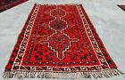 Distressed Hand Knotted Vintage Shrz Animal Pictorial Wool Area Rug 4 x 2 Ft