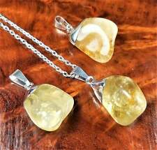 Citrine Necklace - Tumbled Crystal Pendant - Silver Plated Charm (BB59)