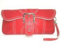 Isabella Fiore Handbag Wristlet Genuine Pebbled Red Leather Clutch Purse EUC 021
