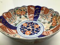 Antique Japanese Imari Scalloped Edge Center Bowl Approx. 10 Inch Diam.