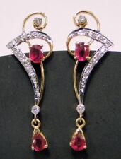 Ruby & Diamond gold earrings 14 K solid gold chandelier long dangles jewelry