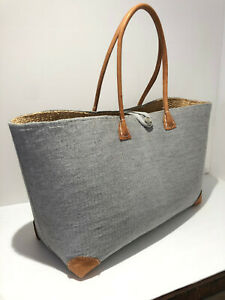 Classic large woven pale blue canvas straw raffia tote bag VGC leather beach