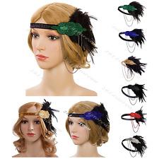 Women's Vintage Feather 1920s Headpiece Flapper Chain Gatsby Hair Band Headbands