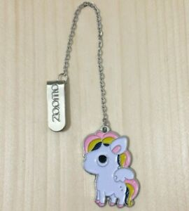 Unicorn Bookmark Metal Girls Gift White Enamel Pendant Book Page Marker Pink UK