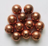 Large Shiny Solid Copper Smooth Round Beads - 11 mm - 4 PCS