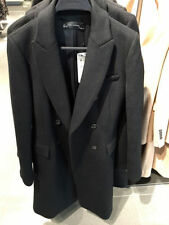 BNWT ZARA 48%Wool Lapel Coat Double Breasted Heavy Jacket Black Size XS S M L