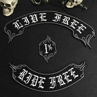 LIVE FREE RIDE FREE Iron On Patch Embroidered Sewing Label  Apparel Badge