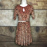 Modcloth Womens XL Belted Short Sleeve Dress Floral Printed Keyhole Front NEW