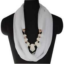 Boho Elastic Resin Beads Solid Neck Shawl Stole Wrap Pendant Scarf Necklace