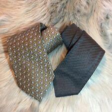 Lot Of Two Prada & Ermenegildo Zegna Ties Gray Brown 100% Silk Designer