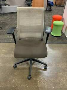 Steelcase Think Chair Loaded Tan and Brown Fabric great condition Free ship!