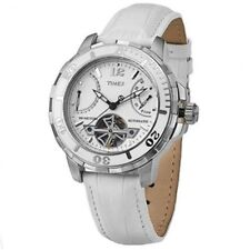 TIMEX WHITE CROC LEATHER & DIAL, AUTOMATIC,TACHYMETER,DATE,100M WATCH-T2M51