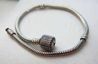 AUTHENTIC Pandora S/S Bracelet with Pave Barrel Snap Clasp. 21 cm
