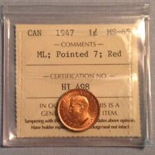 - Canada 1947 One 1 Cent George VI ML Pointed 7 - Gem Mint Unc Red ICCS Graded