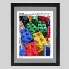 Lego Building Blocks Upcycled Dictionary Art Print Unique Kids Playroom Gift