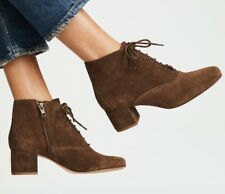 Madewell lace-up block heel boots size 8 weathered maple brushed suede new box