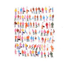 100X Mini Painted Model Figures 1:150 Standing Sitting Model People Toys Decor E