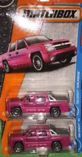 LOT Of 2 Matchbox Hot Pink '02Chevy AVALANCHE Quad Cab Pickups 1:64 NIP Die Cast