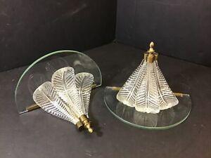 Pair VTG Glass Windsor Plume WALL Bracket Shelf Antique Hollywood Regency