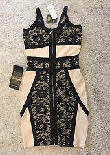 NWT bebe black beige nude lace contrast straps zipper bandage top dress S small