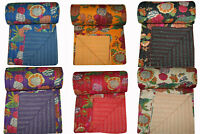 QUEEN Size Cotton Kantha Throw Handmade Quilt Fruit-Print Bed Cover Blanket