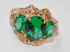 Black Hills Gold Three Stone Mt St Helen's Emerald Ring 10 kt 12 kt Size 7 1/2