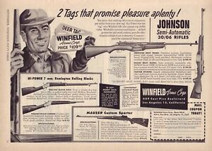 1953 magazine ad for Winfield Arms - Johnson Semi-Automatic, Mauser Sporter