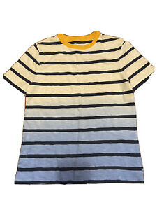 Gap Kids Boys Blue Ombré Striped Yellow Ringer Neck Short Sleeve Tee Shirt NWT