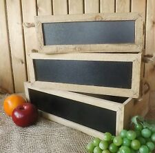 Rustic Vintage Set 3 Wooden Chalk Board Blackboard Display Storage Box Crates