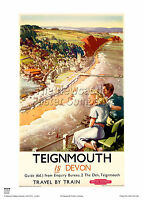 TEIGNMOUTH DEVON VINTAGE RAILWAY RETRO TRAVEL ADVERTISING POSTER HOLIDAY ART