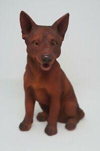 KELPIE RED DOG SITTING PUPPY DOG STATUE ORNAMENT MEMORIAL