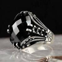 925 Sterling Silver Men's Jewelry Faceted Black Onyx Stone Men's Ring