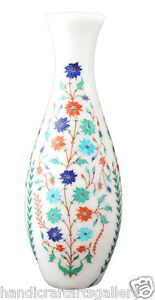 """12"""" White Marble Flower Vase Lapis Turquoise Precious Floral Inlay Decorate H700"""