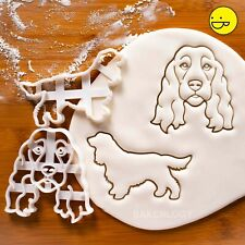 2 Show Cocker Spaniel Dog cookie cutters - Face & Outline birthday party treats