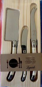 FRENCH HOME Laguiole Cheese Knife & Spreader Set of 3 Stainless Steel -Ivory