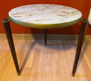 Vintage Mid Century Modern Side Table Marble Formica Wood Tapered Peg Legs