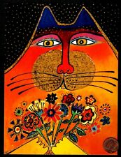 Laurel Burch Cat Kitten Holding Bouquet Flowers Large Blank Note Greeting Card
