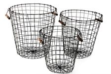 Set of 3 Round Black Retro Rustic Iron Wire Storage Baskets With Pine Handles
