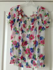 HOLLISTER CALIFORNIA BY ABERCROMBIE & FITCH PRETTY FLORAL DESIGN SHEER TOP- SZ L