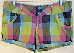 NoBo Multi Colored Blue Plaid 100% Cotton Shortie Shorts Size 9 Womens EUC