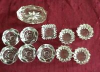 Lot of 11 Salt Cellars Clear Glass Open Pressed Glass