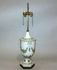 """FAB Hand Painted Green Florals Bow Knots Ceramic ITALIAN Pottery 33"""" Urn Lamp"""