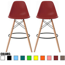 """Set of 2 28"""" Seat Red Mid Century Modern Plastic Side Armless No Arms DSW Stool"""